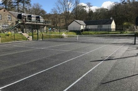 Our newly refurbished tennis court at Melfort Village